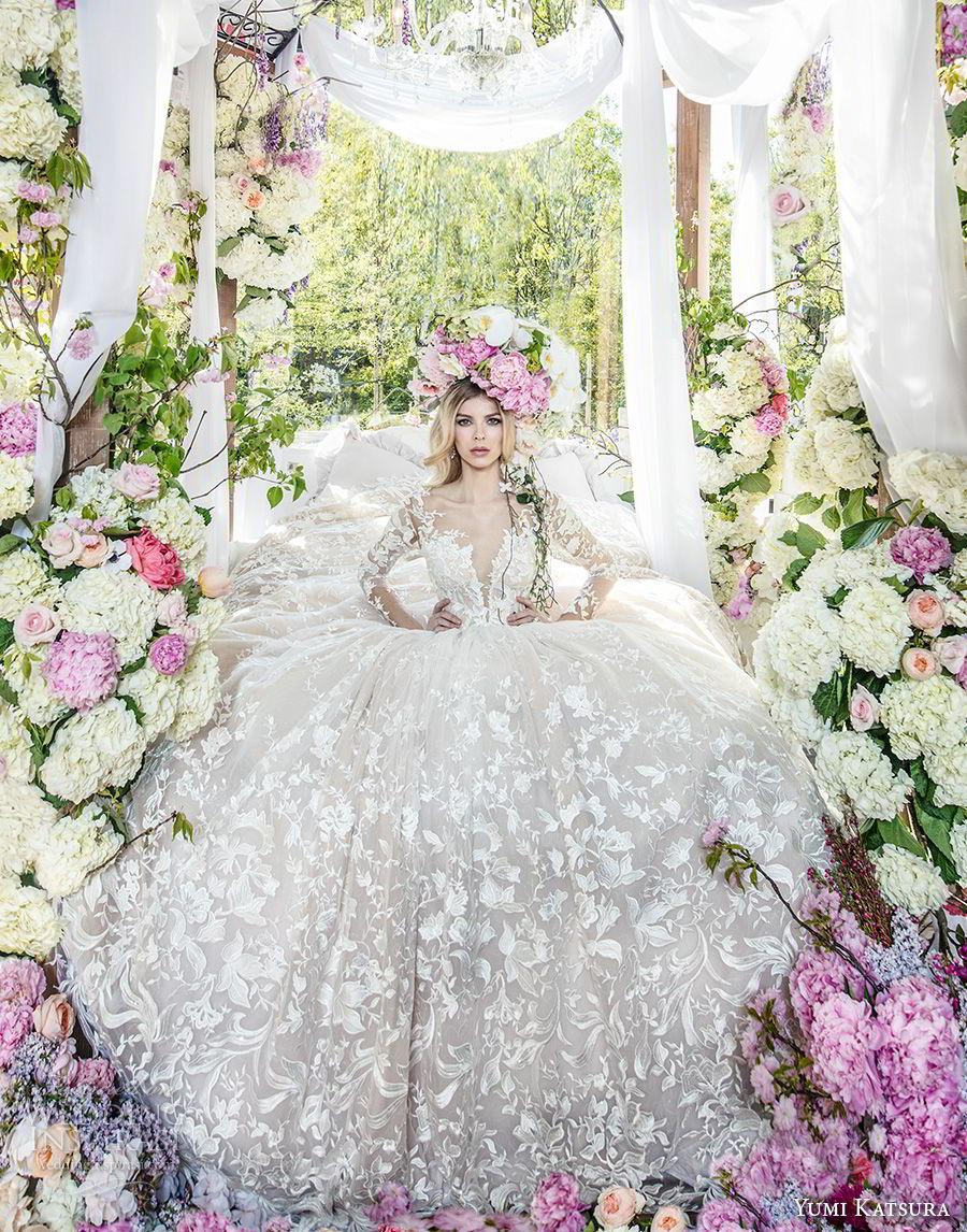 yumi katsura spring 2019 bridal long sleeves deep plunging sweetheart neckline full embellishment romantic princess ball gown a  line wedding dress chapel train (2) mv
