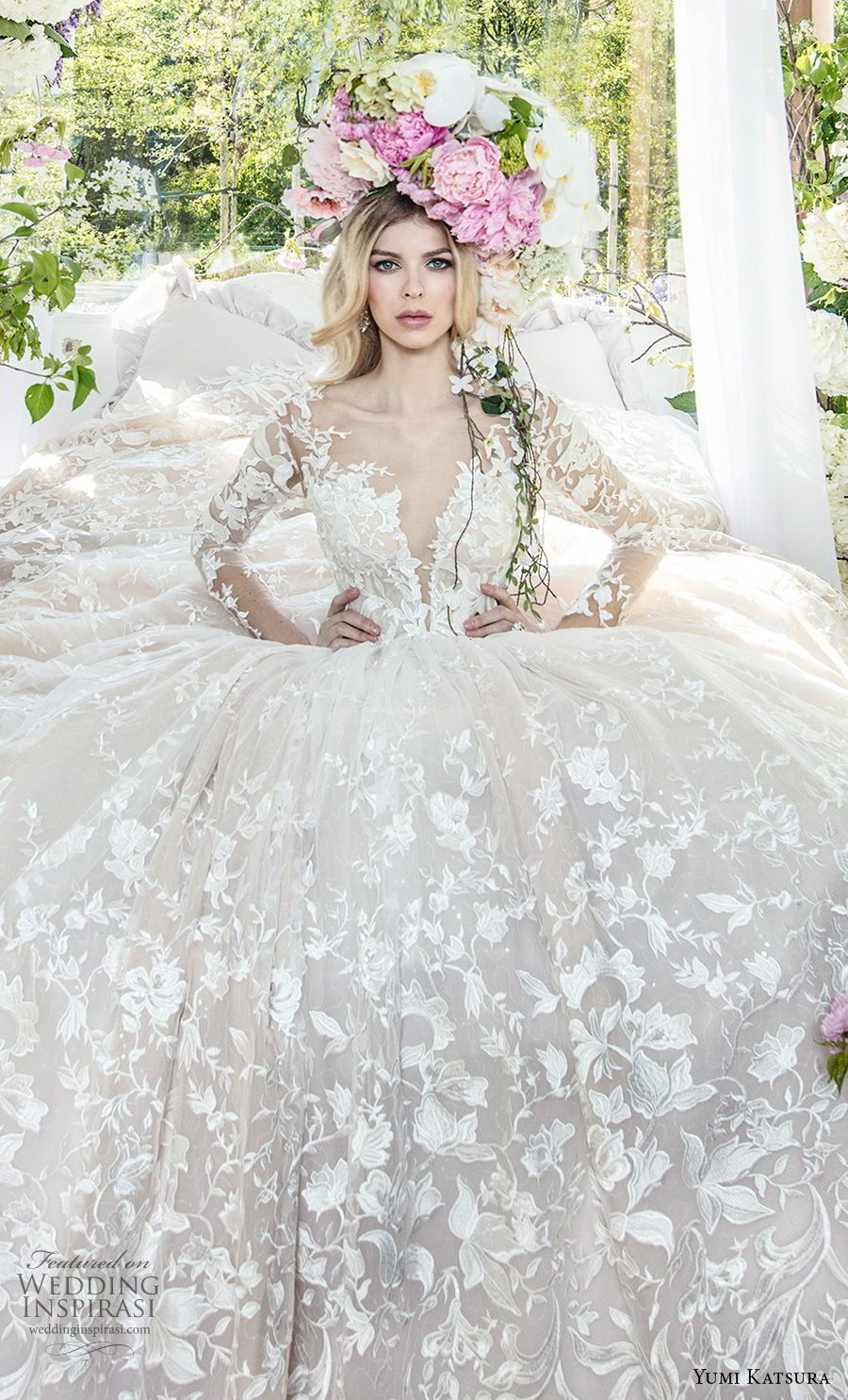 yumi katsura spring 2019 bridal long sleeves deep plunging sweetheart neckline full embellishment romantic princess ball gown a  line wedding dress chapel train (2) zv