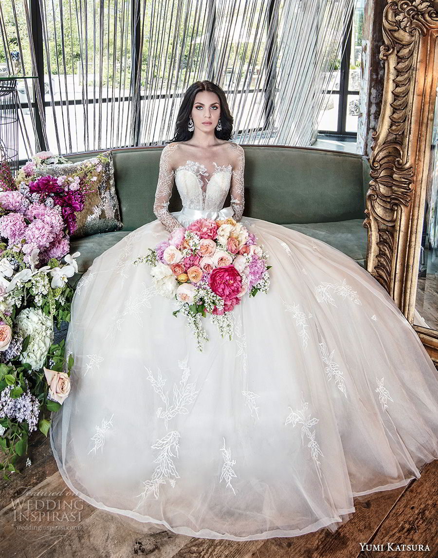 yumi katsura spring 2019 bridal long sleeves deep plunging sweetheart neckline heavily embellished bodice princess ball gown a  line wedding dress (6) mv