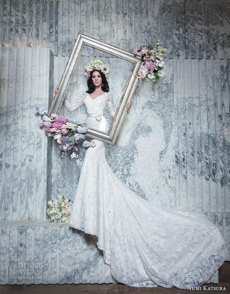 yumi katsura spring 2019 bridal long sleeves v neck full embellishment elegant fit and flare wedding dress long train (13) mv