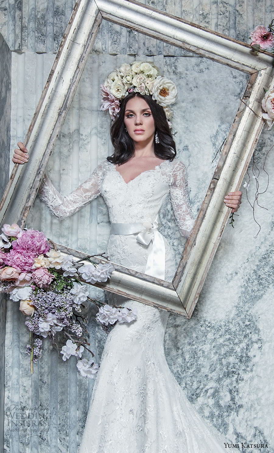 yumi katsura spring 2019 bridal long sleeves v neck full embellishment elegant fit and flare wedding dress long train (13) zv