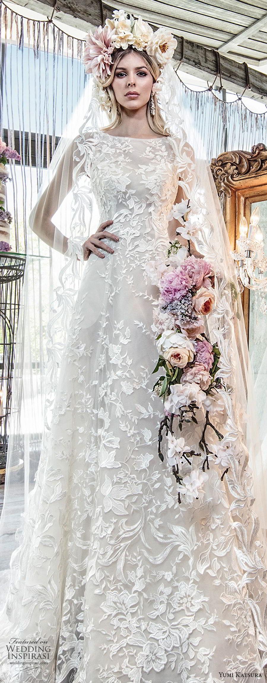 yumi katsura spring 2019 bridal sleeveless bateau neckline full embellishment elegant a  line wedding dress chapel train (4) lv