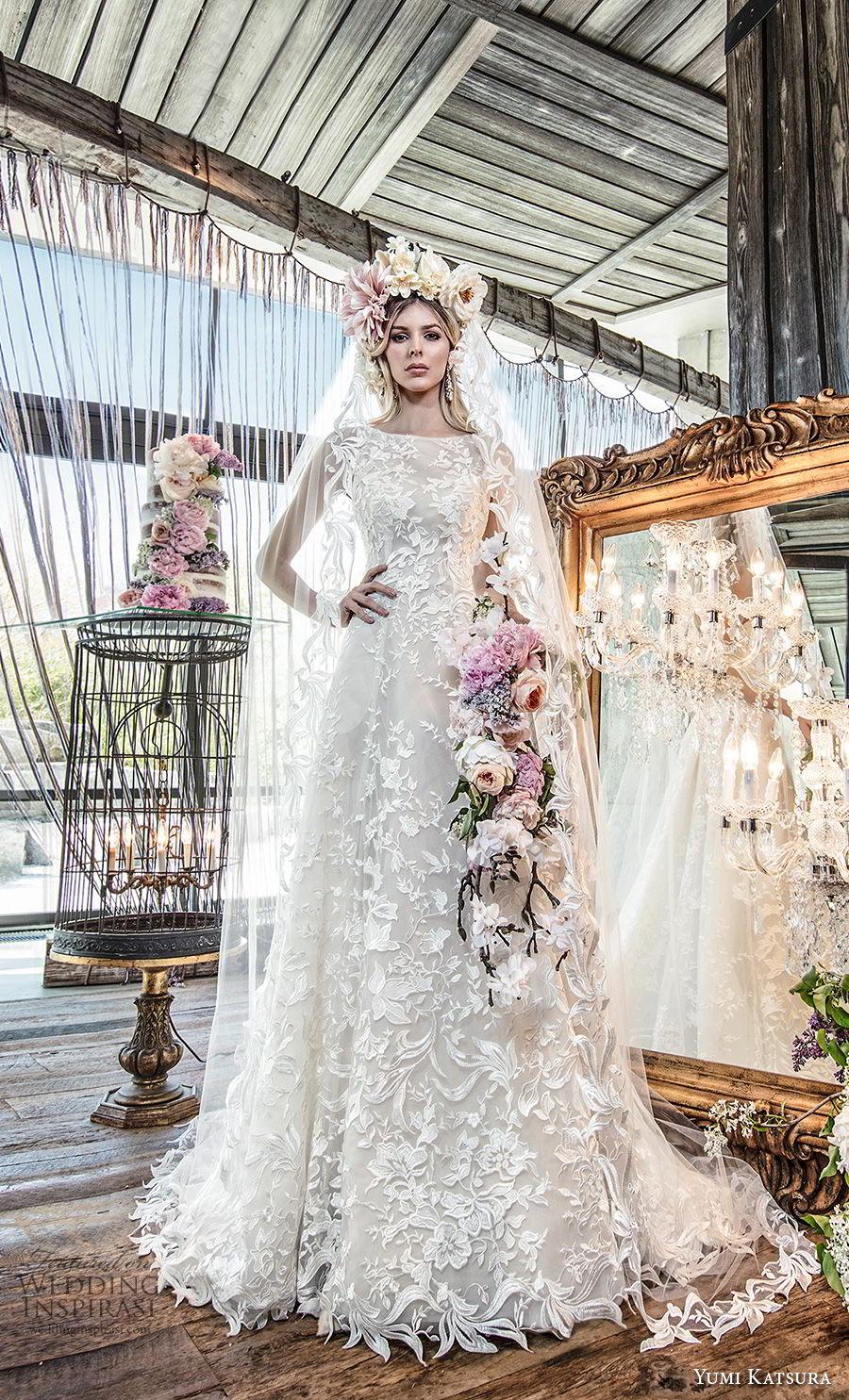 yumi katsura spring 2019 bridal sleeveless bateau neckline full embellishment elegant a  line wedding dress chapel train (4) mv
