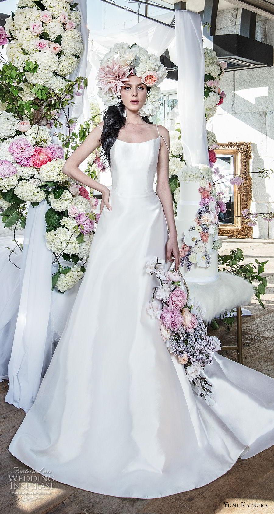 yumi katsura spring 2019 bridal sleeveless spaghetti strap scoop neckline simple clean minimalist elegant classic a  line wedding dress chapel train (8) mv