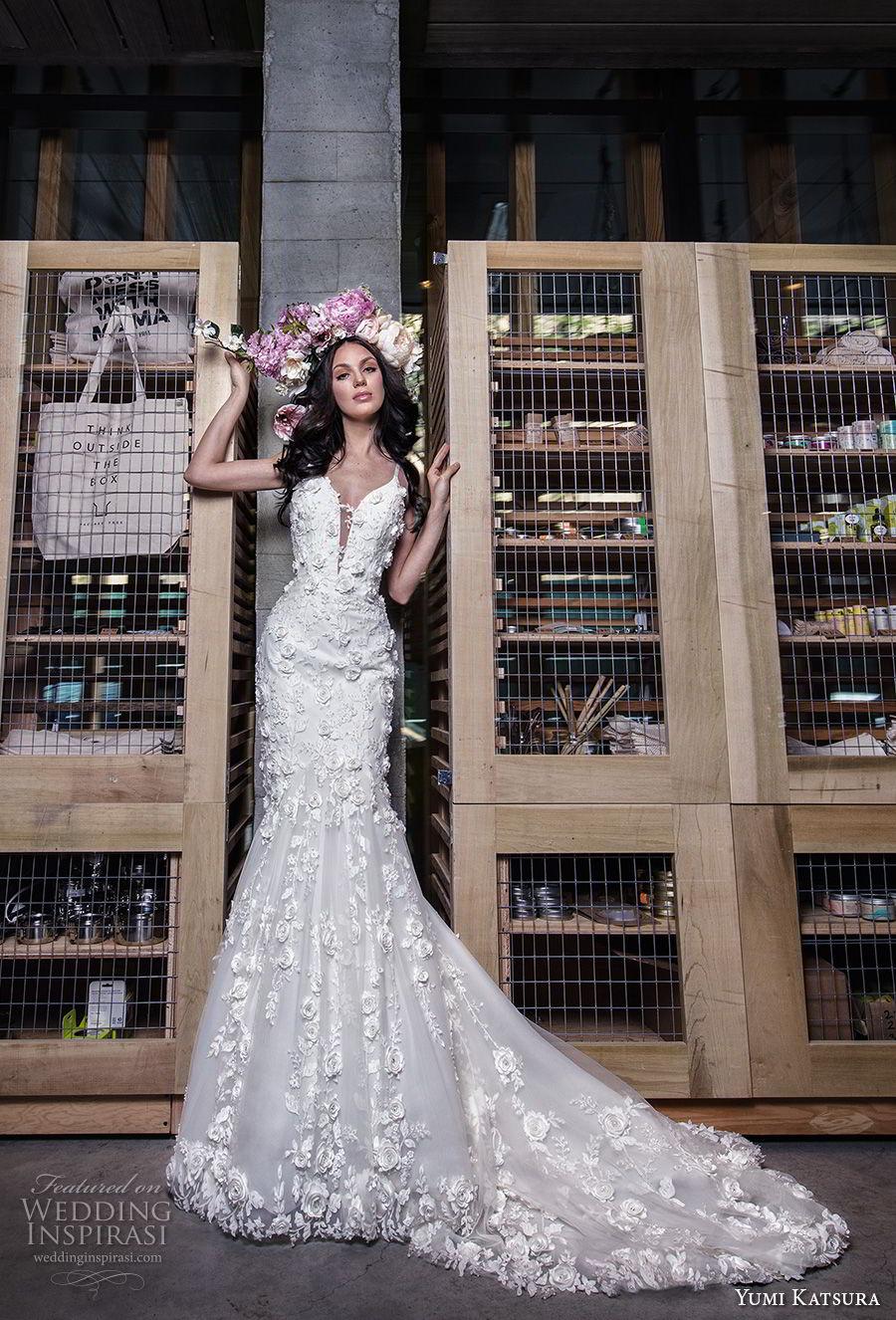 yumi katsura spring 2019 bridal sleeveless thin strap deep plunging sweetheart neckline full embellishment romantic mermaid wedding dress chapel train (16) mv