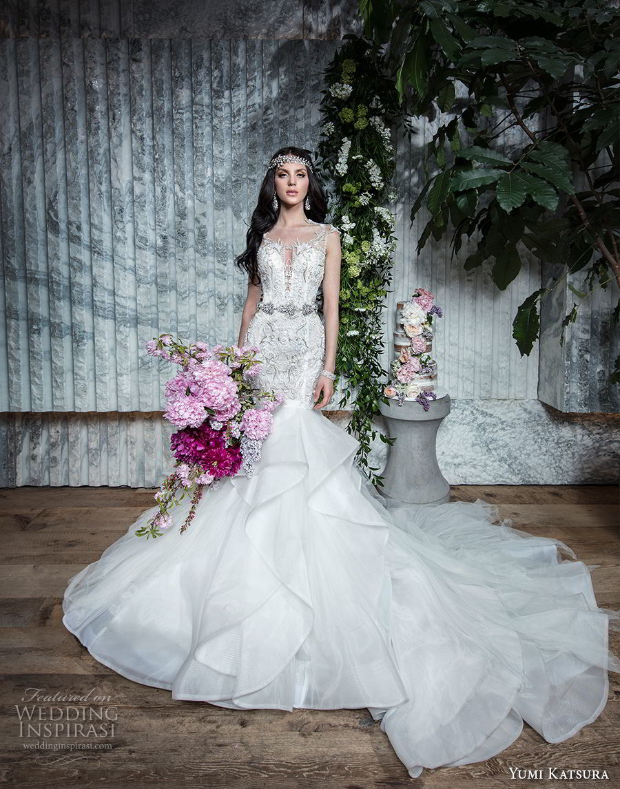 yumi katsura spring 2019 bridal sleeveless with strap deep plunging sweetheart neckline heavily embellished bodice tiered skirt glizty glamorous mermaid wedding dress chapel train (11) mv