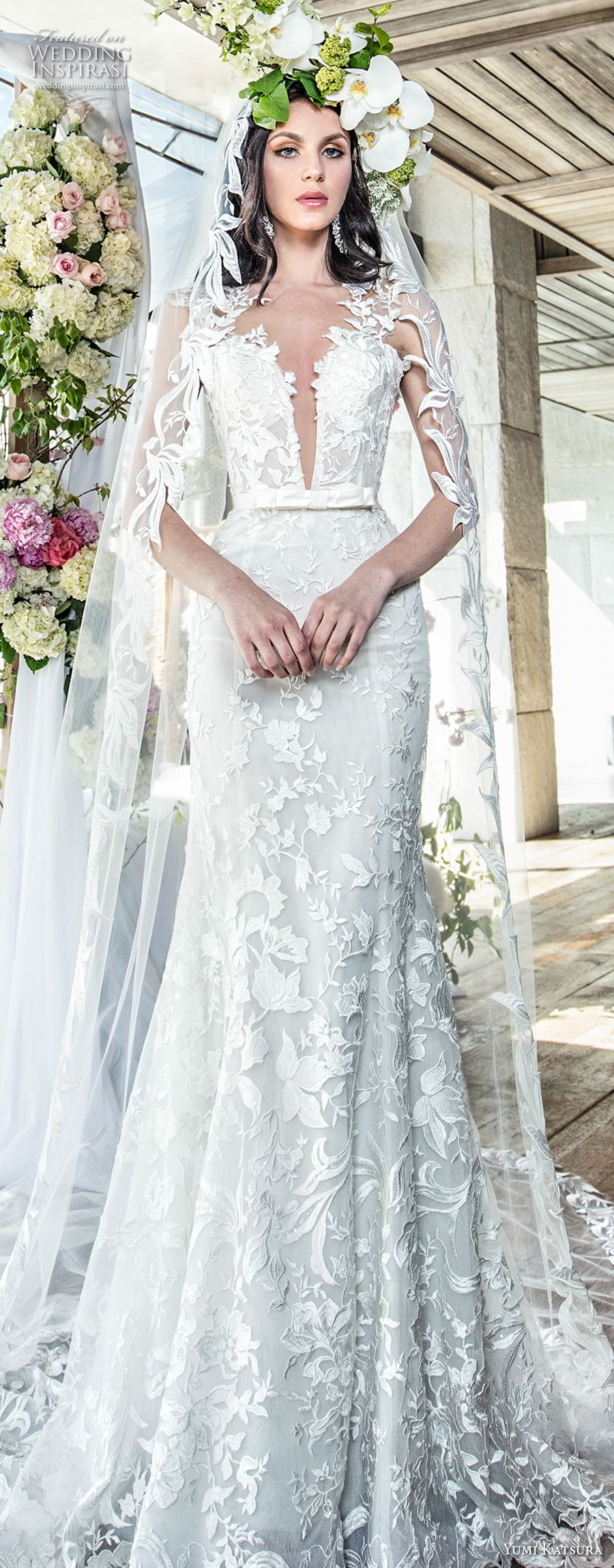 yumi katsura spring 2019 bridal sleevless thick lace strap deep plunging sweetheart neckline full embellishment elegant sexy trumpet wedding dress chapel train (3) lv