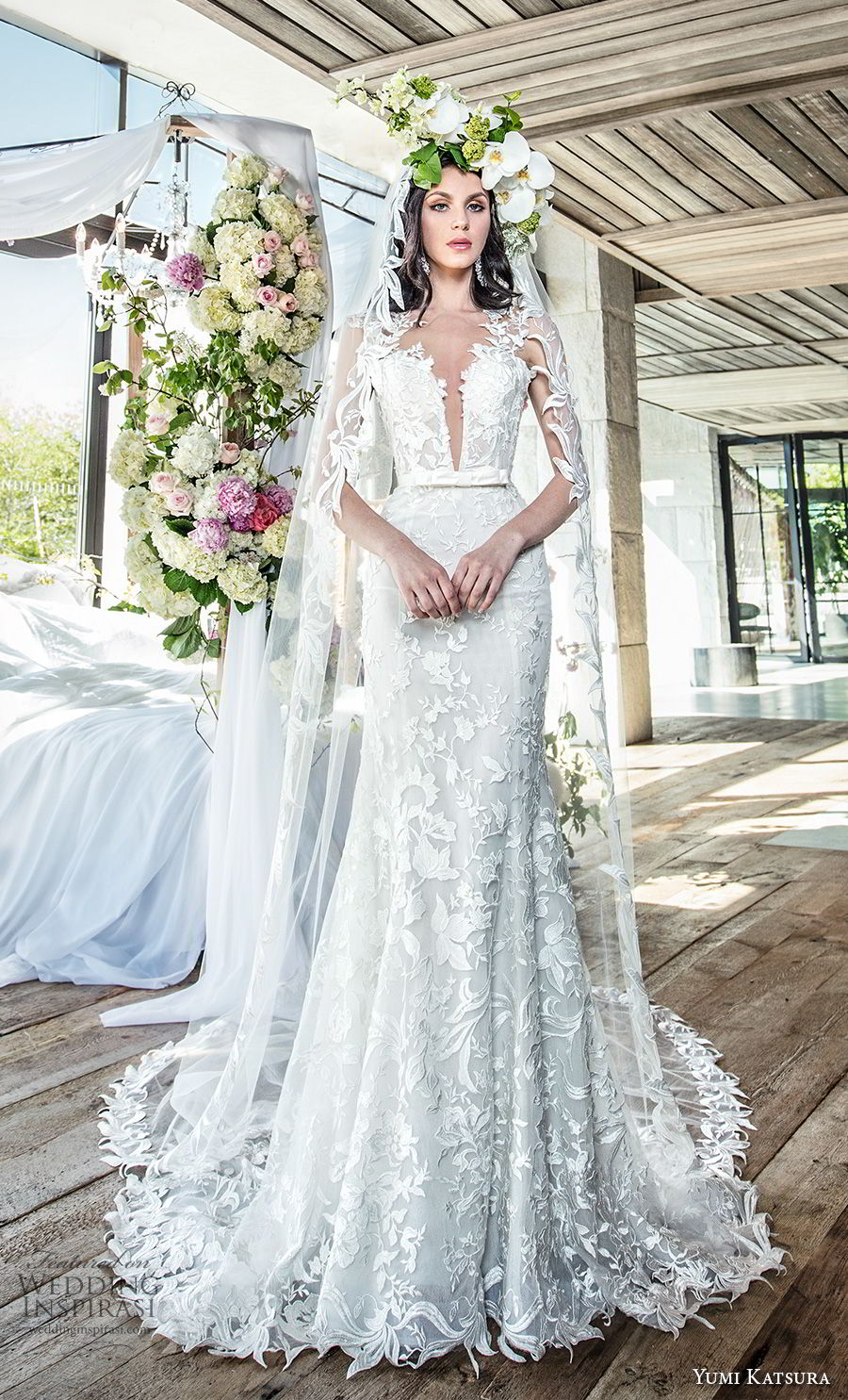 yumi katsura spring 2019 bridal sleevless thick lace strap deep plunging sweetheart neckline full embellishment elegant sexy trumpet wedding dress chapel train (3) mv