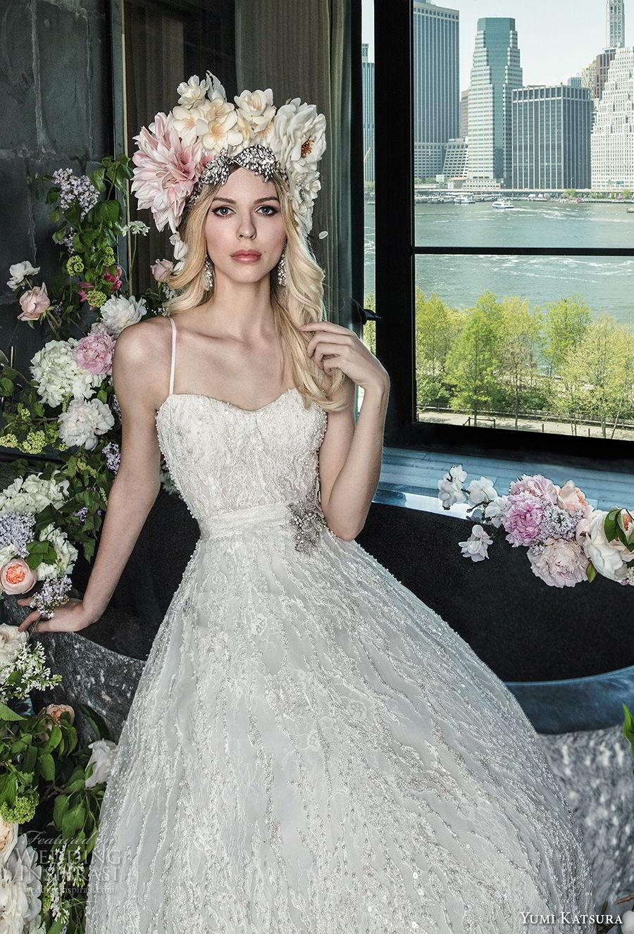 yumi katsura spring 2019 bridal spaghetti strap semi sweetheart neckline full embellishment romantic glitzy a  line weding dress chapel train (18) mv