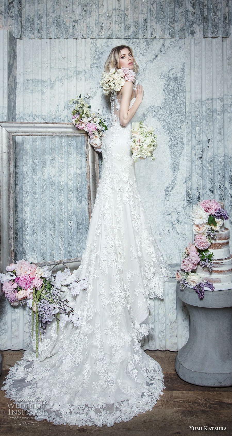 yumi katsura spring 2019 bridal strapless sweetheart neckline full embellishment elegant romantic mermaid wedding dress chapel train (12) mv sdv