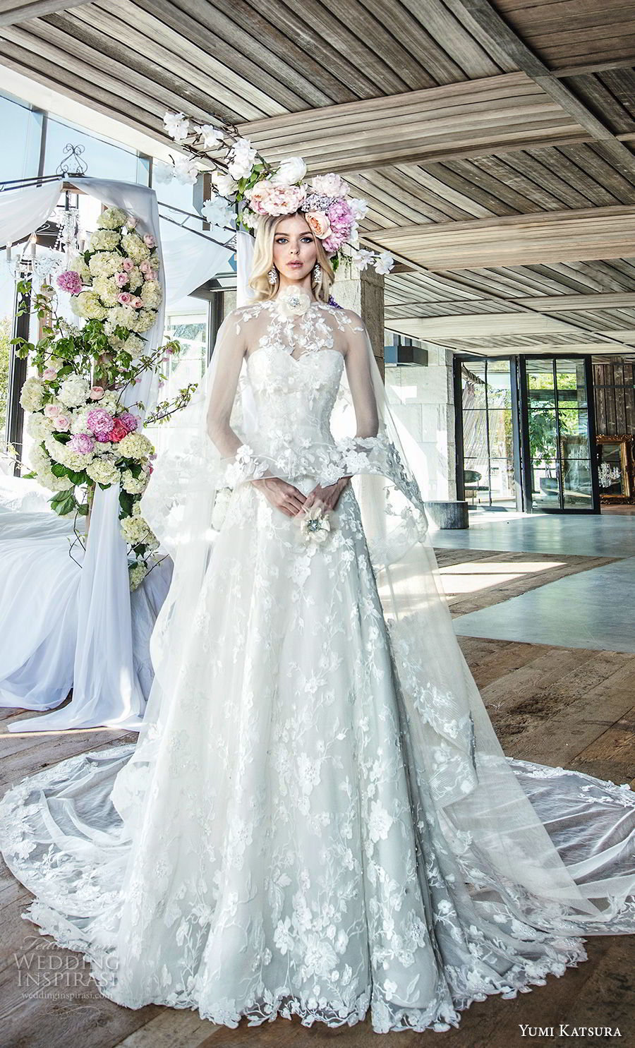 yumi katsura spring 2019 bridal strapless sweetheart neckline full embellishment romantic princess a  line wedding dress with cape chapel train (1) mv