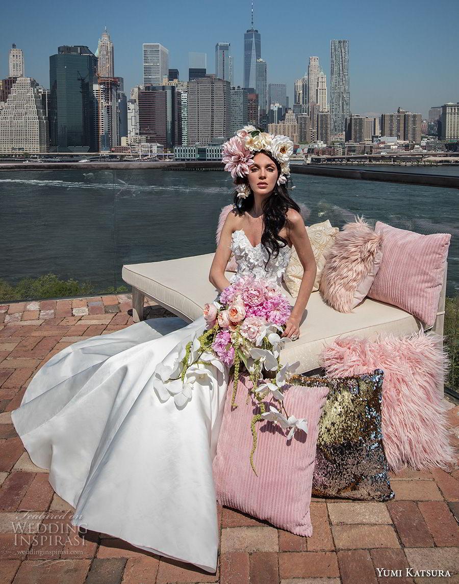 yumi katsura spring 2019 bridal strapless sweetheart neckline heavily embellished bodice wedding dress chapel train (20) mv