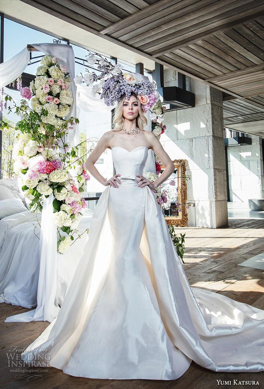 yumi katsura spring 2019 bridal strapless sweetheart neckline simple minimalist elegant classic mermaid wedding dress a  line overskirt chapel train (7) mv