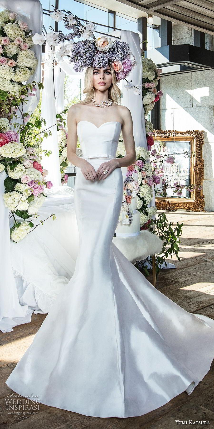 yumi katsura spring 2019 bridal strapless sweetheart neckline simple minimalist elegant classic mermaid wedding dress chapel train (7) mv