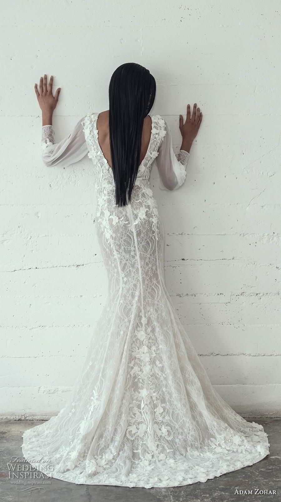 adam zohar 2019 bridal long bishop sleeves deep v neck full embellishment sexy elegant trumpet wedding dress open v back sweep train (11) bv
