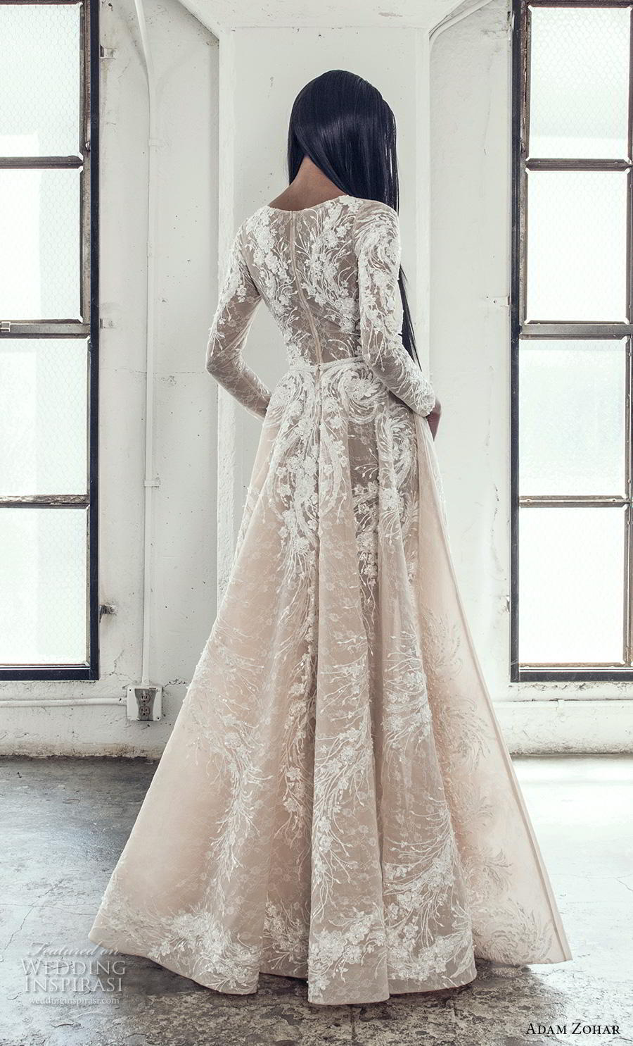 adam zohar 2019 bridal long sleeves deep plunging v neck full embellishment elegant glamorous a  line wedding dress covered lace back sweep train (7) bv