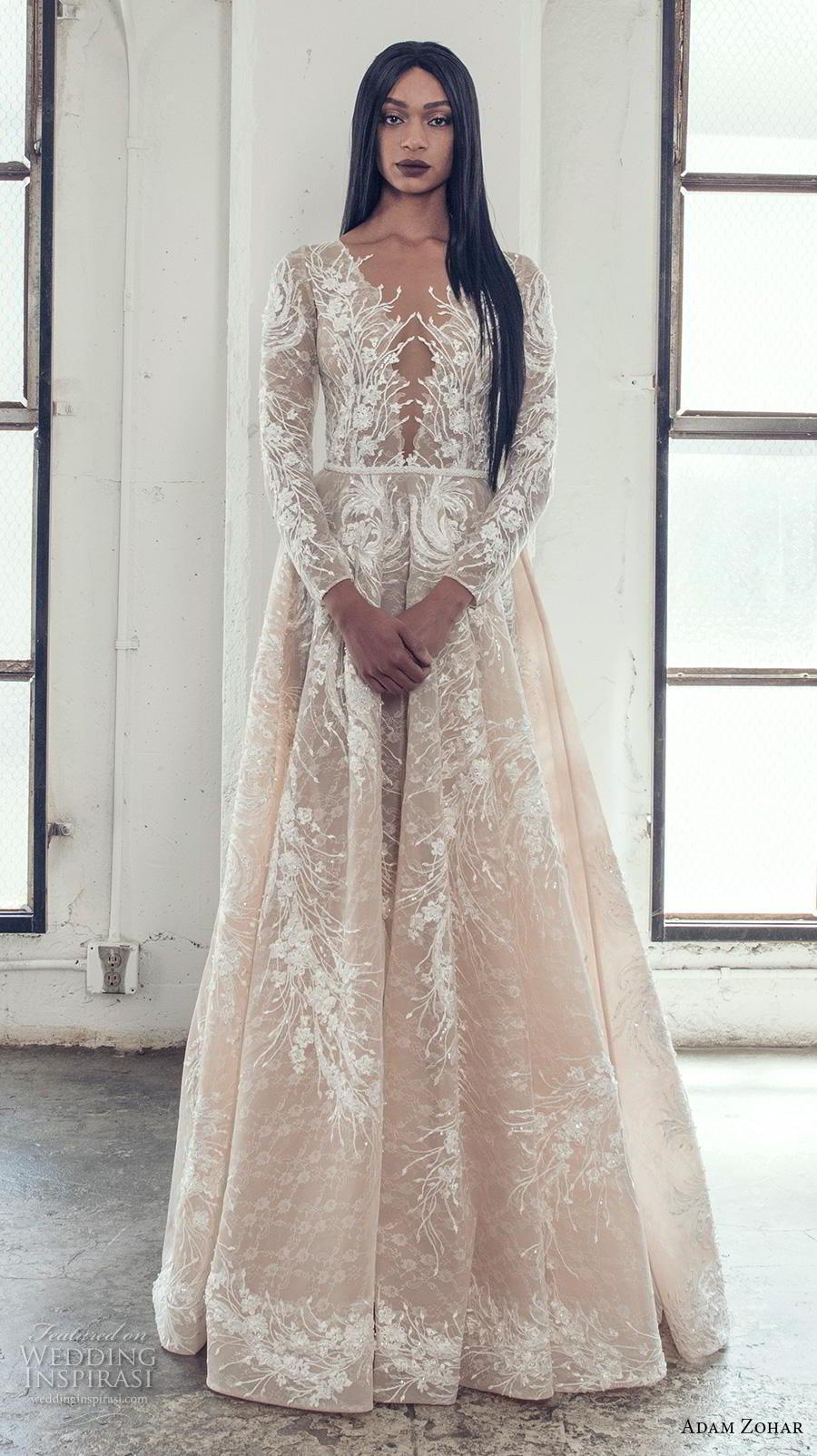 adam zohar 2019 bridal long sleeves deep plunging v neck full embellishment elegant glamorous a  line wedding dress covered lace back sweep train (7) mv