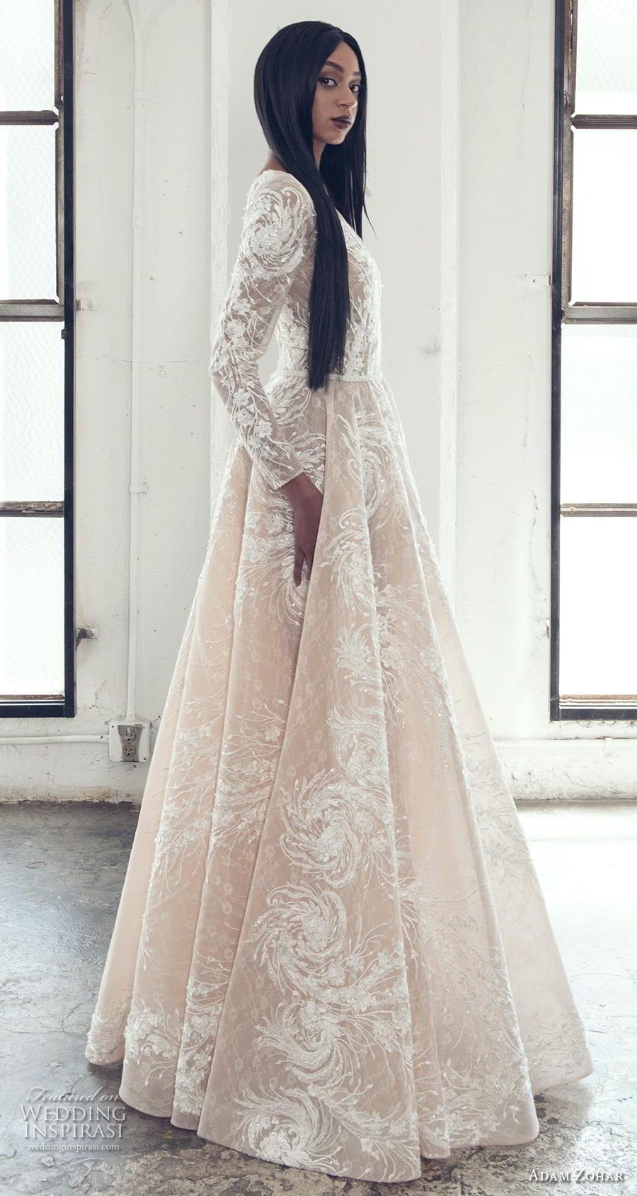 adam zohar 2019 bridal long sleeves deep plunging v neck full embellishment elegant glamorous a  line wedding dress covered lace back sweep train (7) sdv