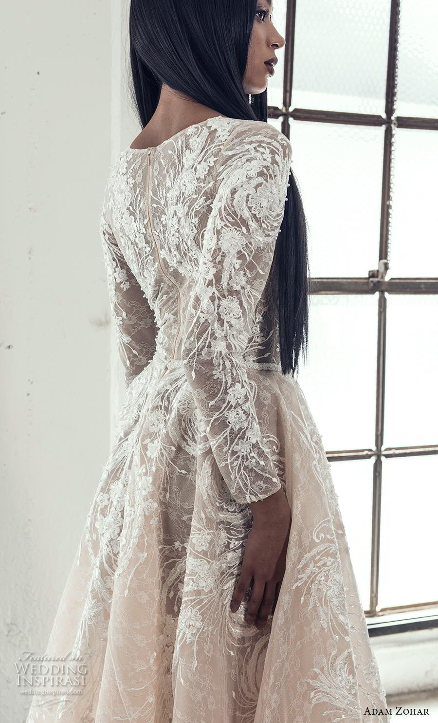 adam zohar 2019 bridal long sleeves deep plunging v neck full embellishment elegant glamorous a  line wedding dress covered lace back sweep train (7) zbv