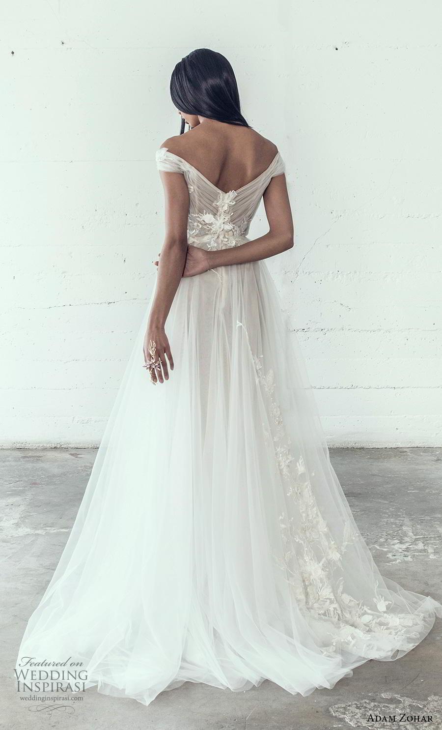 adam zohar 2019 bridal off the shoulder sweetheart neckline heavily embellished bodice romantic a  line wedding dress short train (9) bv
