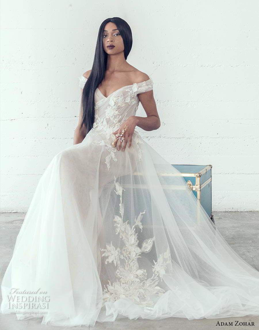 adam zohar 2019 bridal off the shoulder sweetheart neckline heavily embellished bodice romantic a  line wedding dress short train (9) mv