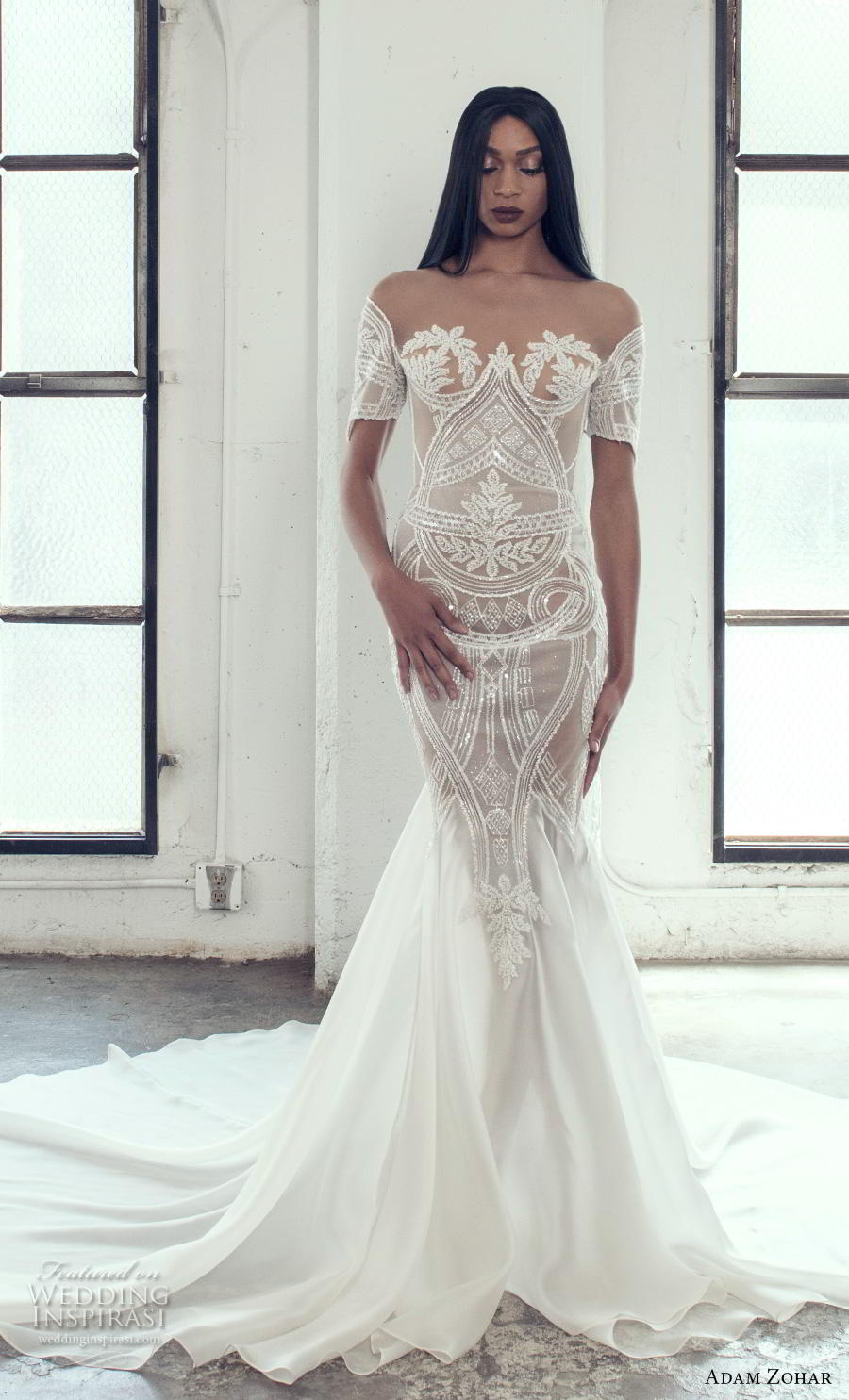 adam zohar 2019 bridal short sleeves sweetheart neckline full embellishment elegant glamorous mermaid wedding dress chapel train (8) mv