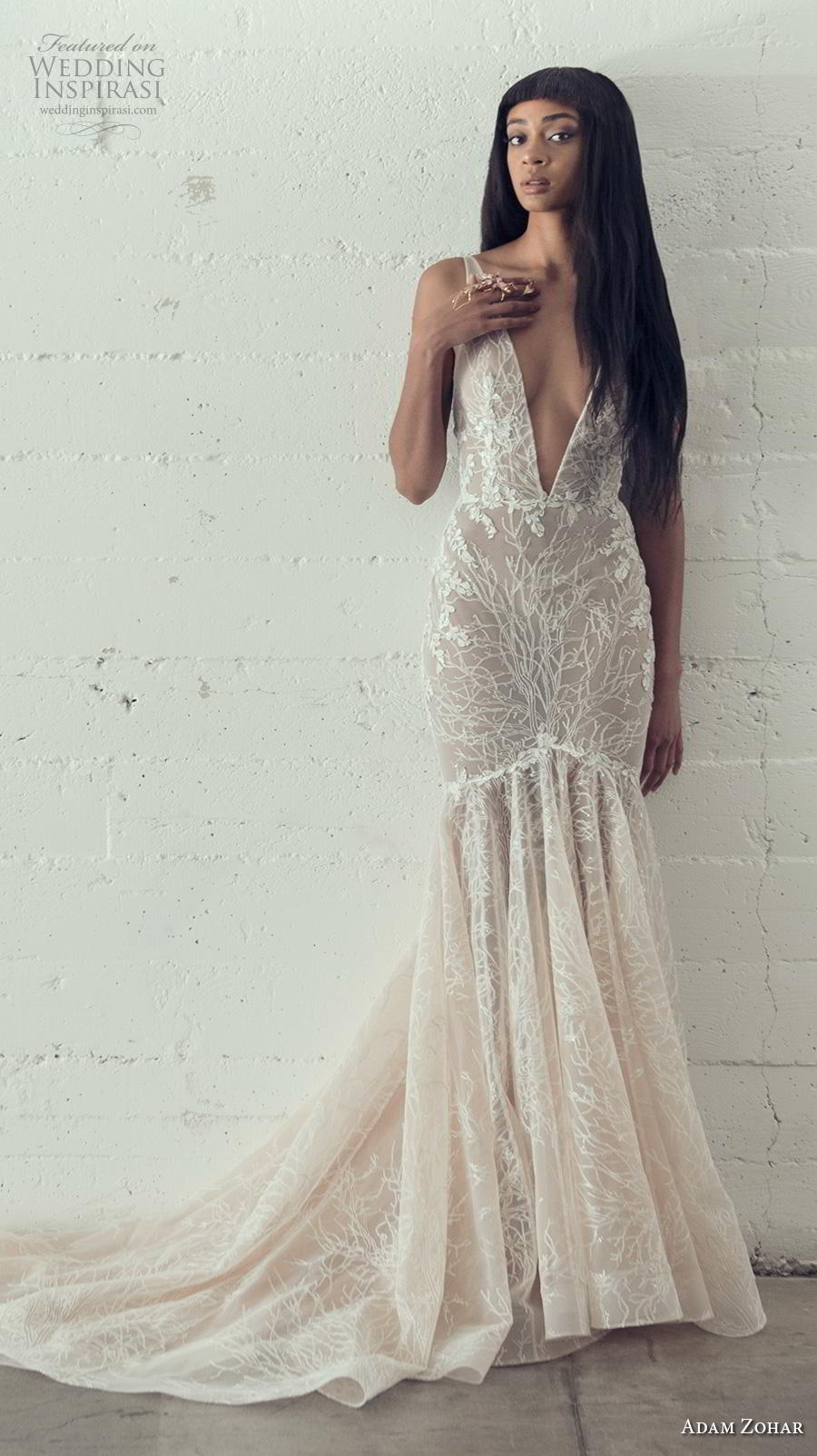 adam zohar 2019 bridal sleeveless deep v neck full embellishment sexy elegant mermaid wedding dress backless v back chapel train (6) mv