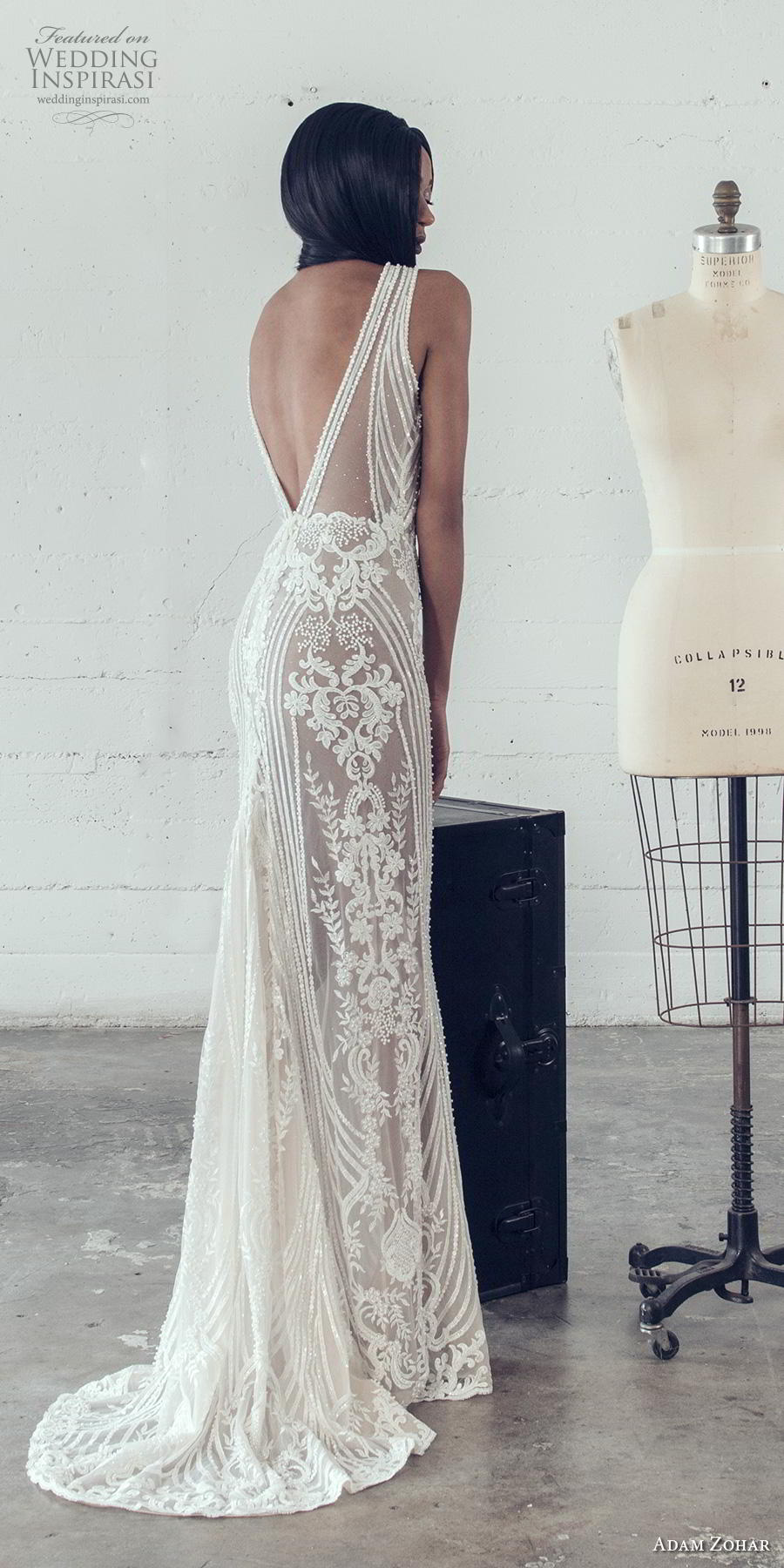 adam zohar 2019 bridal sleeveless deep v neck full embellishment sexy glamorous sheath fit and flare wedding dress backless v back sweep train (13) bv