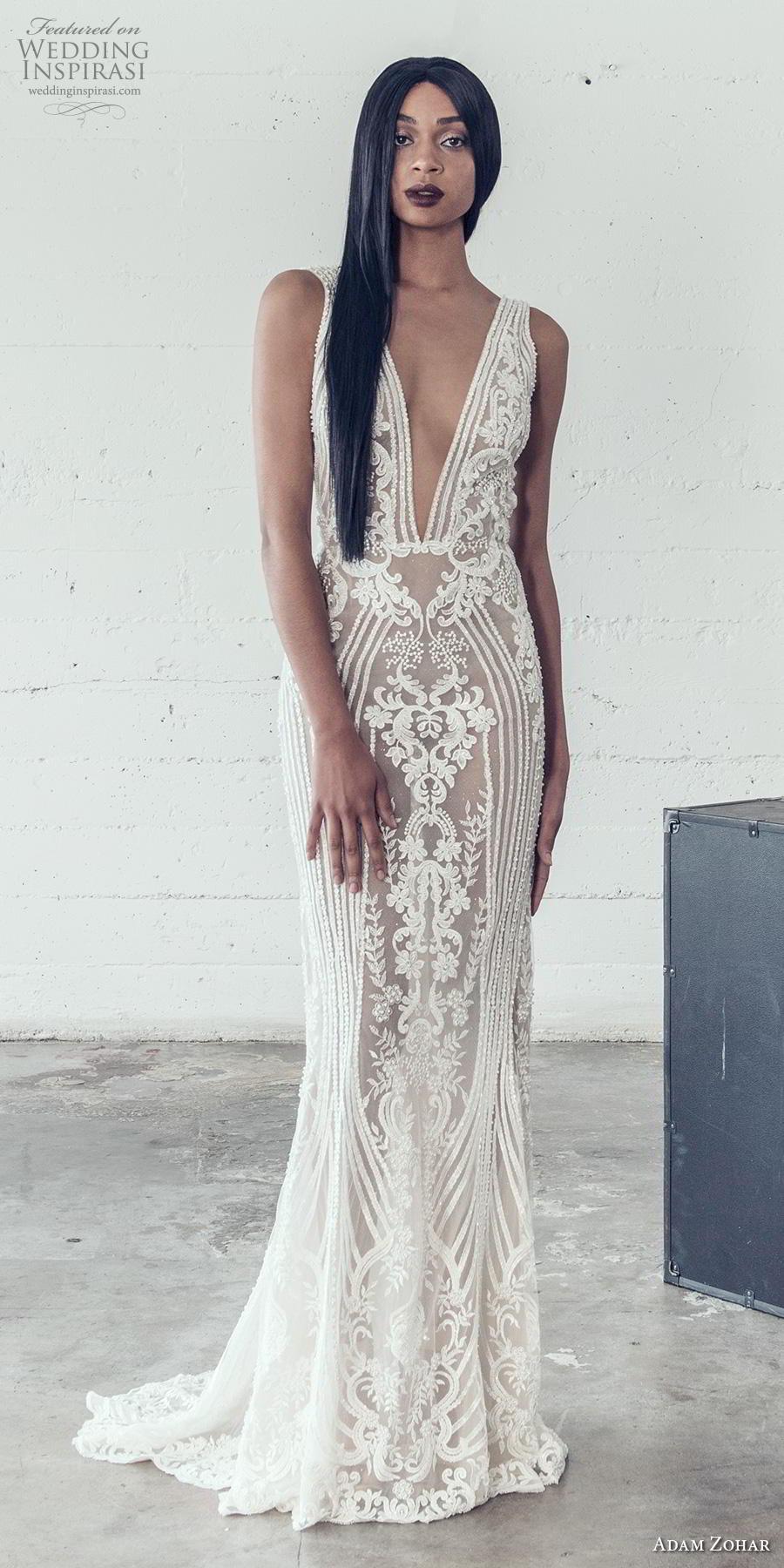 adam zohar 2019 bridal sleeveless deep v neck full embellishment sexy glamorous sheath fit and flare wedding dress backless v back sweep train (13) mv