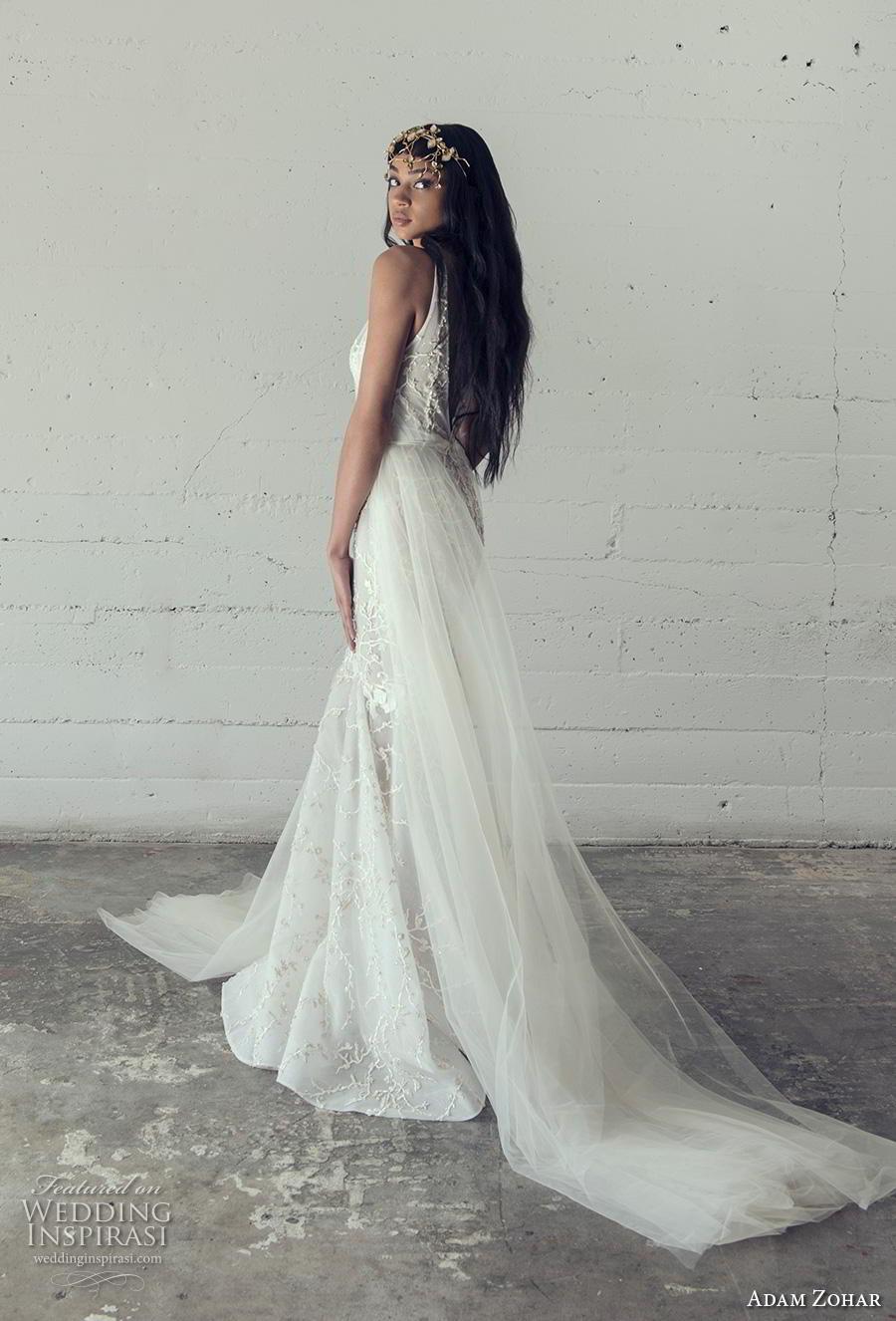 adam zohar 2019 bridal sleeveless deep v neck full embellishment sexy romantic mermaid wedding dress backless v back chapel train (5) bv
