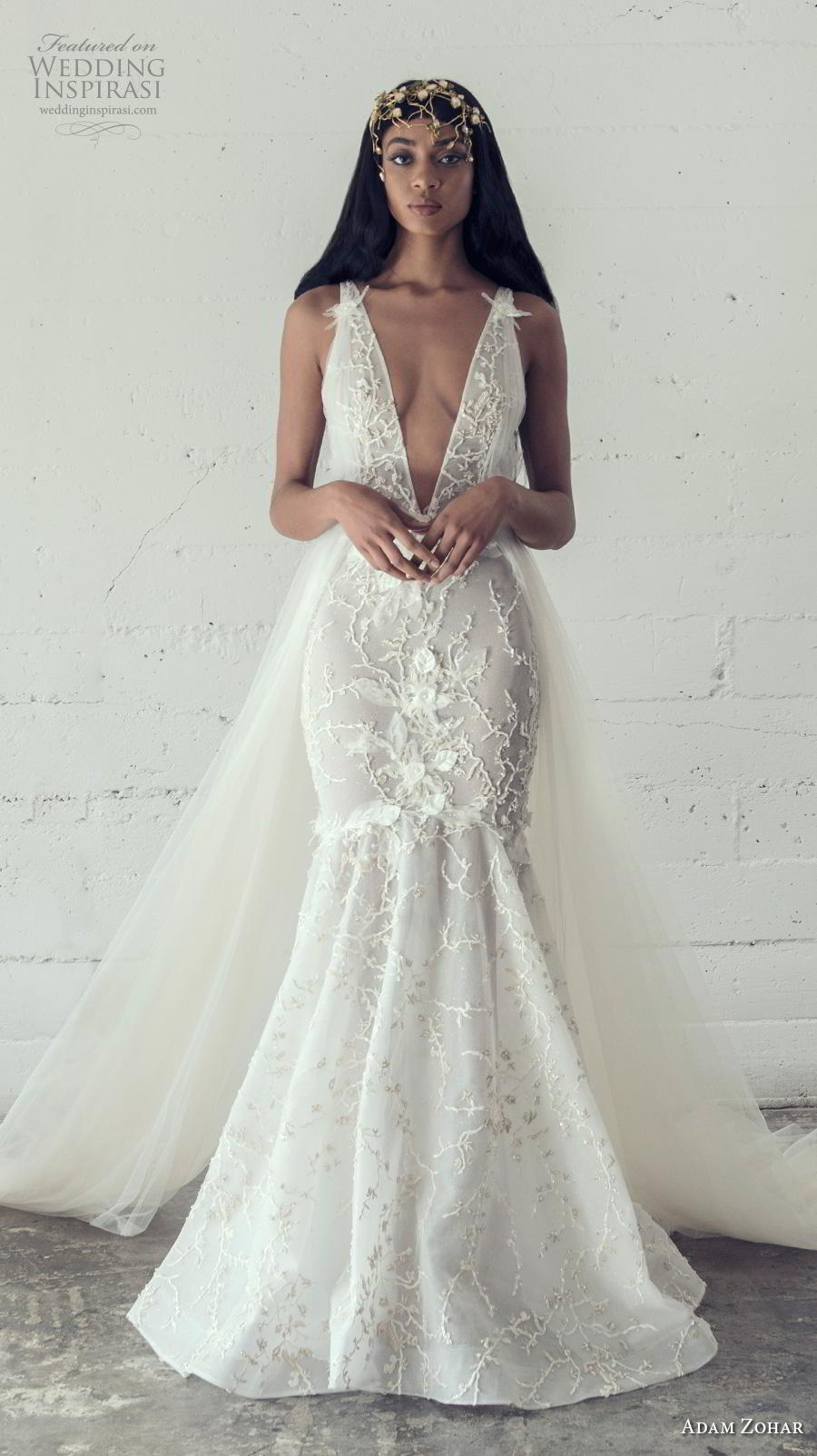 adam zohar 2019 bridal sleeveless deep v neck full embellishment sexy romantic mermaid wedding dress backless v back chapel train (5) mv