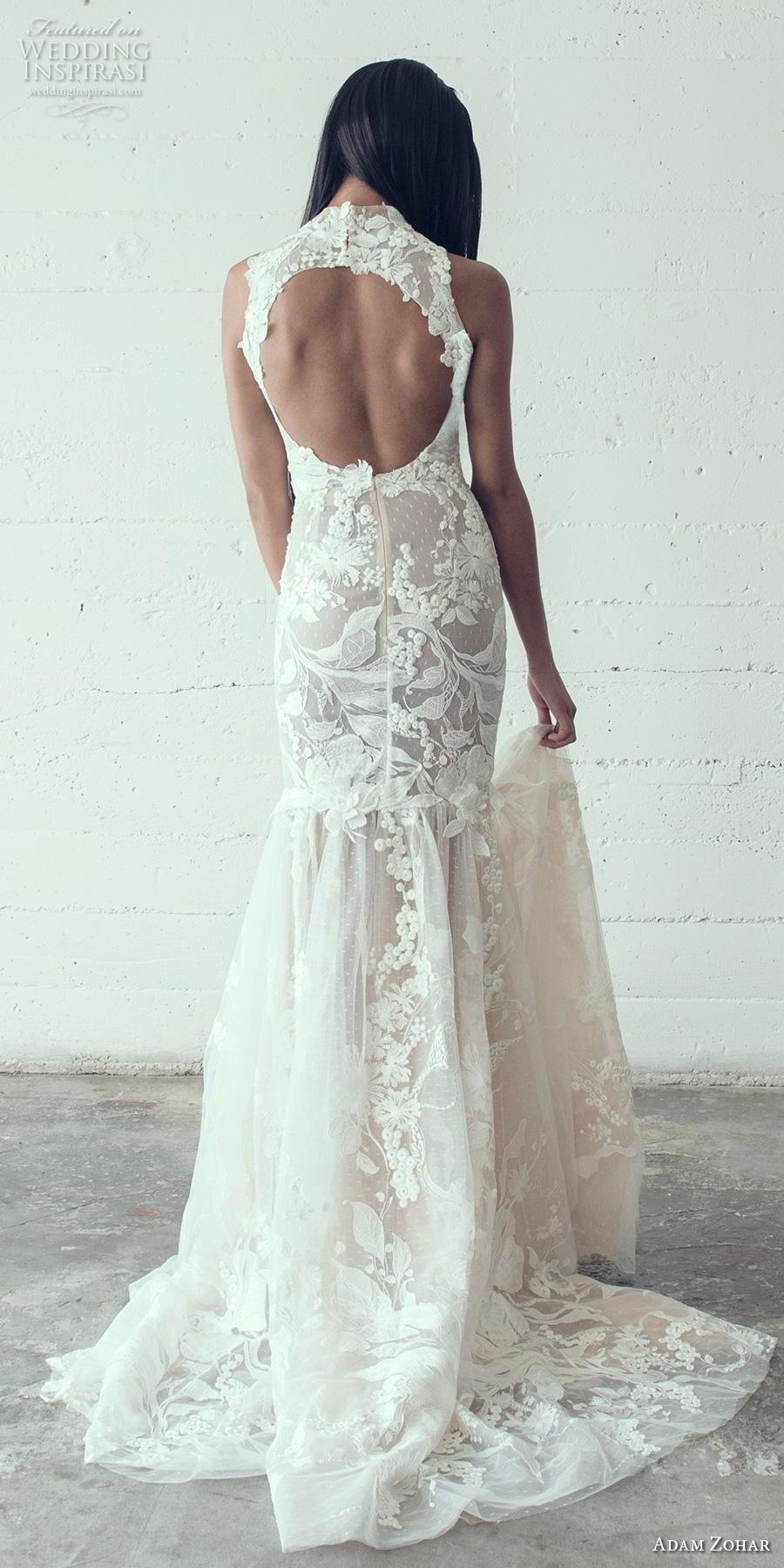 adam zohar 2019 bridal sleeveless halter high neck full embellishment elegant trumpet wedding dress keyhole back medium train (12) bv