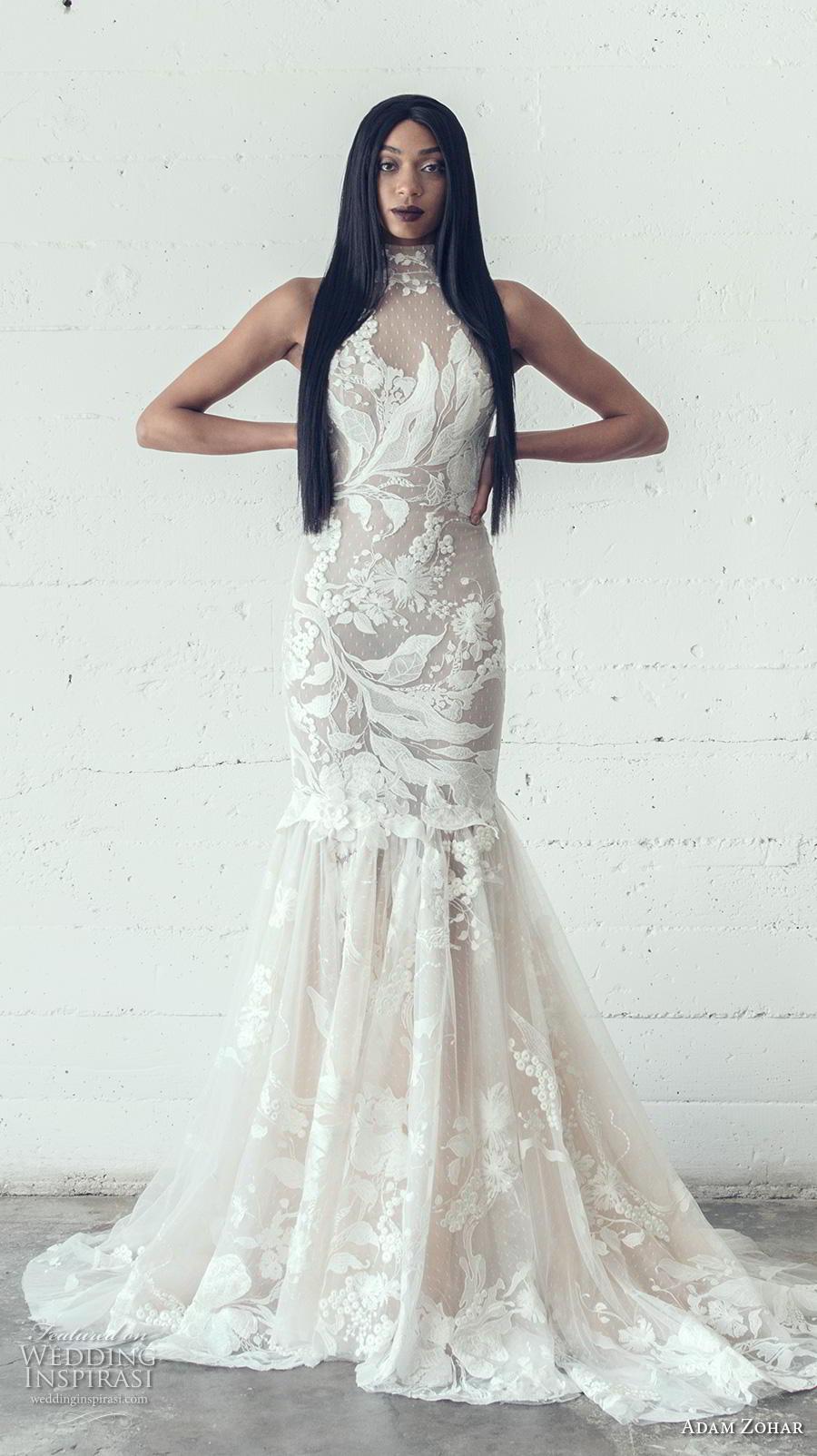 adam zohar 2019 bridal sleeveless halter high neck full embellishment elegant trumpet wedding dress keyhole back medium train (12) mv