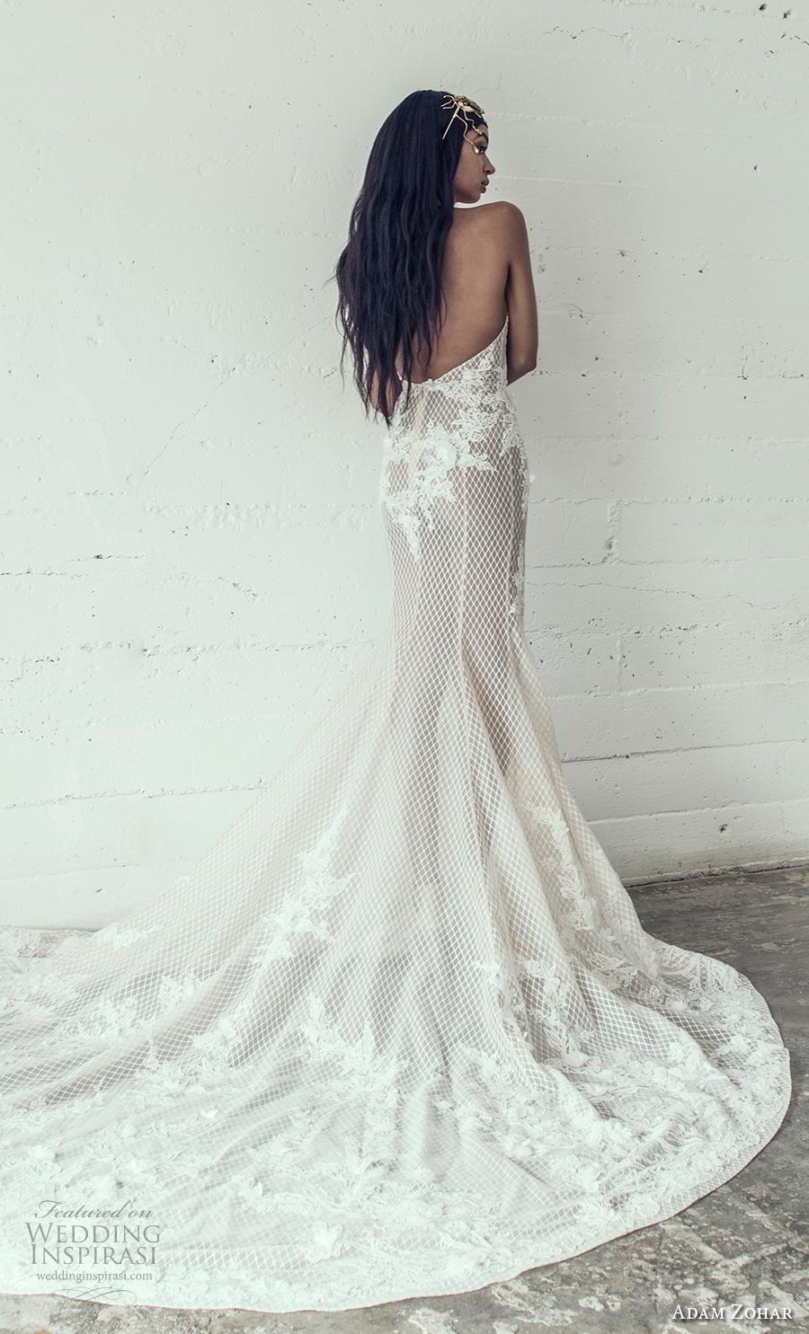 adam zohar 2019 bridal sleeveless halter neck full embellishment elegant sheath wedding dress backless chapel train (15) bv