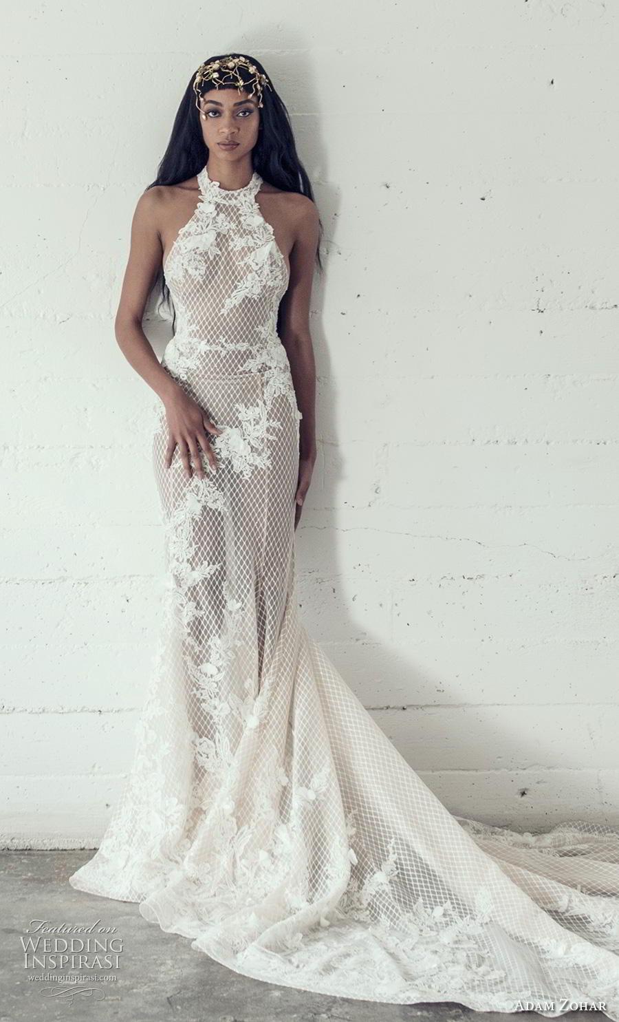 adam zohar 2019 bridal sleeveless halter neck full embellishment elegant sheath wedding dress backless chapel train (15) mv