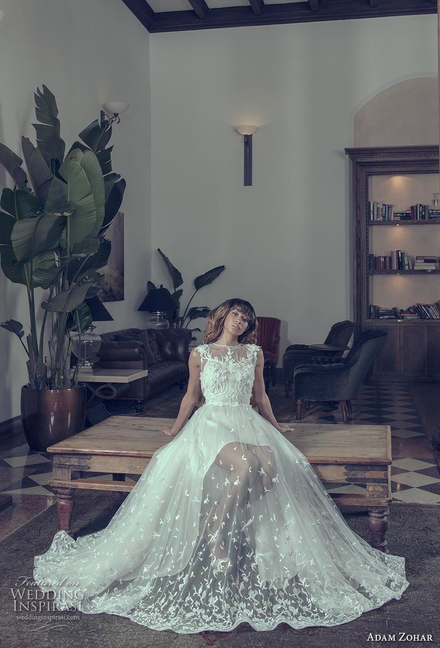 adam zohar 2019 bridal sleeveless illusion jewel straight across neckline heavily embellished bodice hem sheer skirt elegant a  line wedding dress keyhole back short train (2) mv