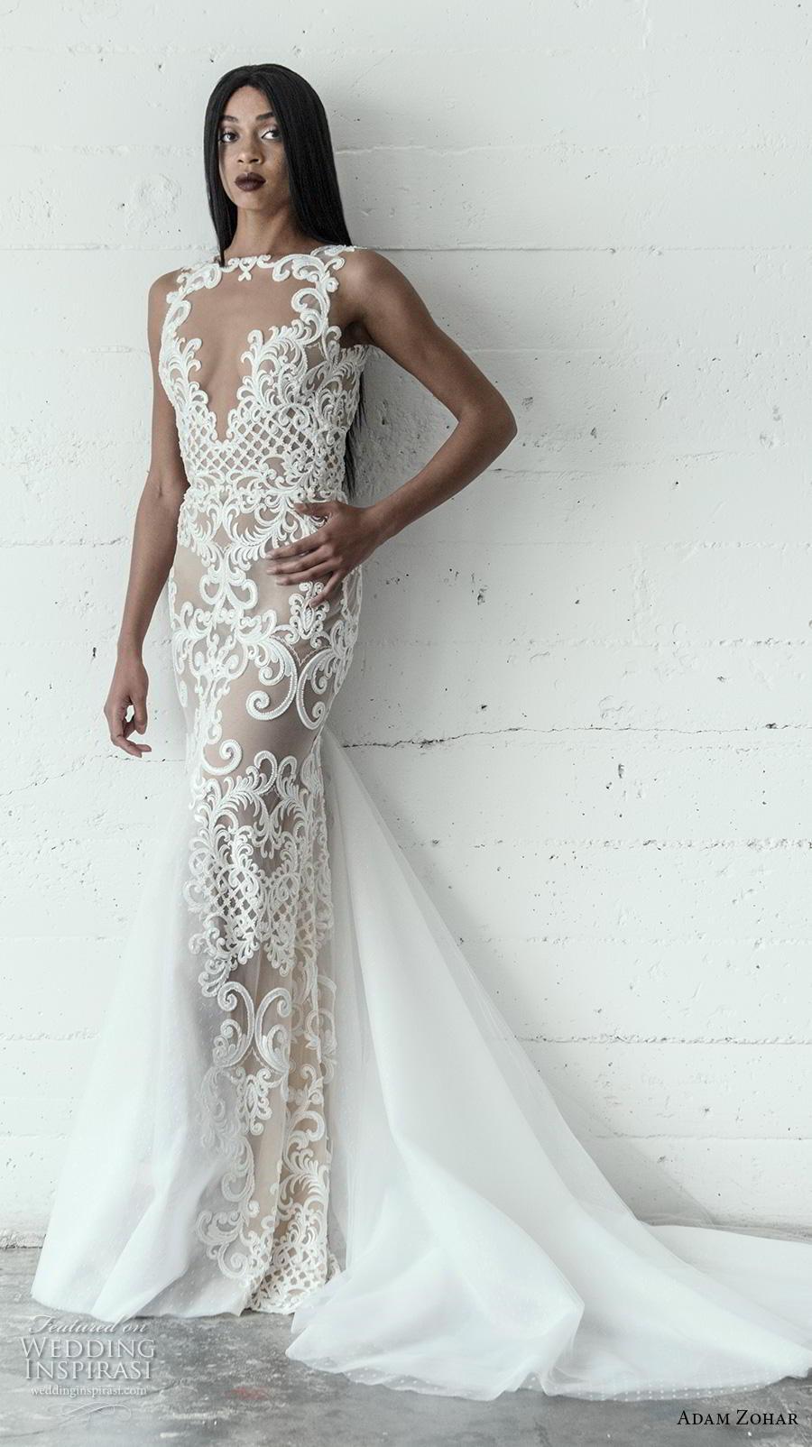 adam zohar 2019 bridal sleeveless keyhole neckline full embellishment elegant glamorous sheath wedding dress chapel train (10) mv
