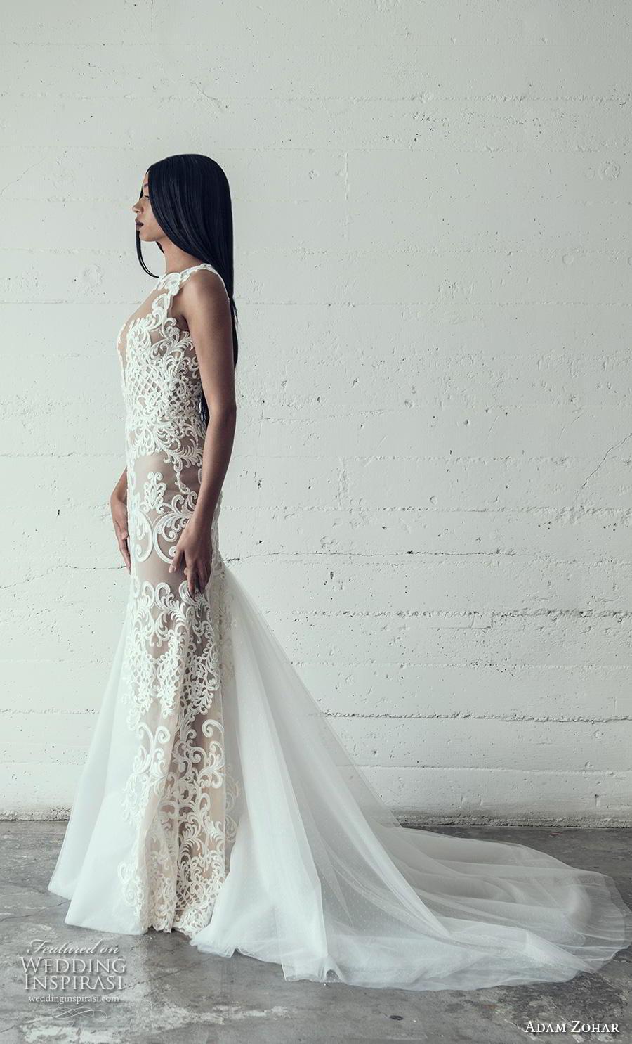 adam zohar 2019 bridal sleeveless keyhole neckline full embellishment elegant glamorous sheath wedding dress chapel train (10) sdv