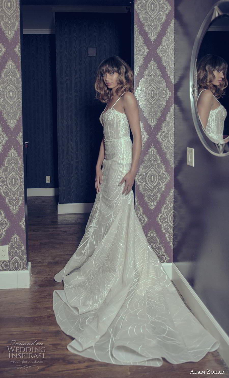 adam zohar 2019 bridal spaghetti strap deep plunging sweetheart neckline full embellishment sexy glamorous fit and flare wedding dress chapel train (3) sdv