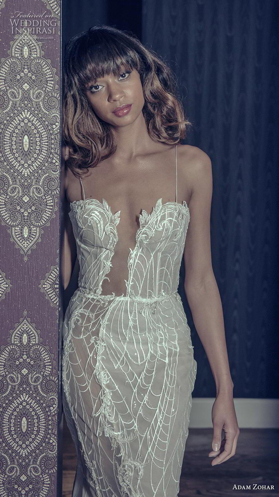 adam zohar 2019 bridal spaghetti strap deep plunging sweetheart neckline full embellishment sexy glamorous fit and flare wedding dress chapel train (3) zv