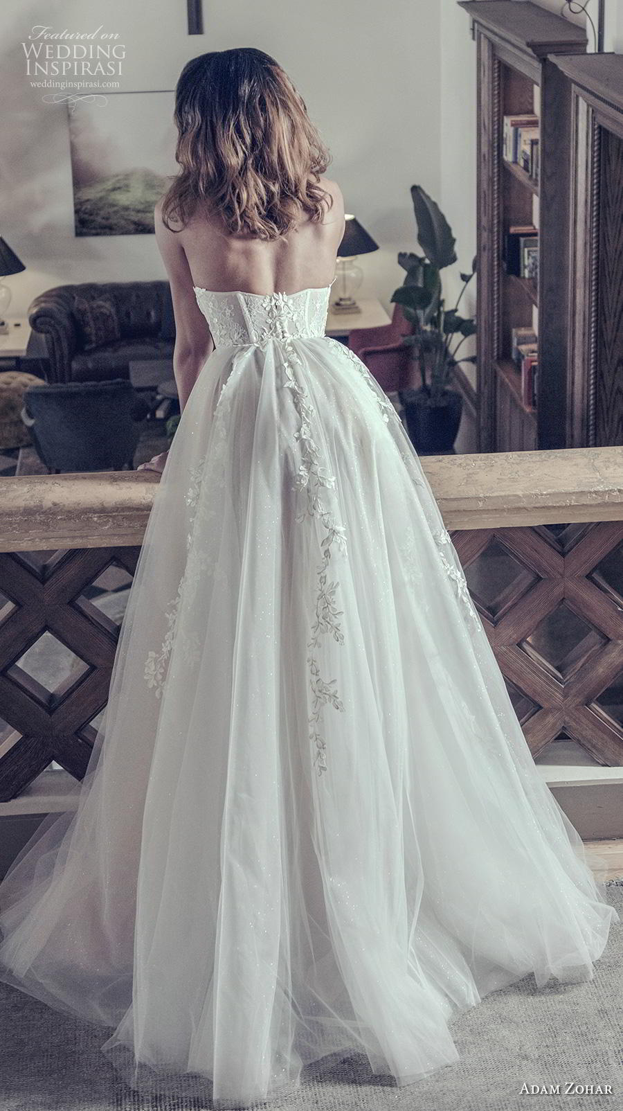 adam zohar 2019 bridal strapless sweetheart neckline heavily embellished bodice bustier romantic ball gown a  line wedding dress sweep train (1) bv