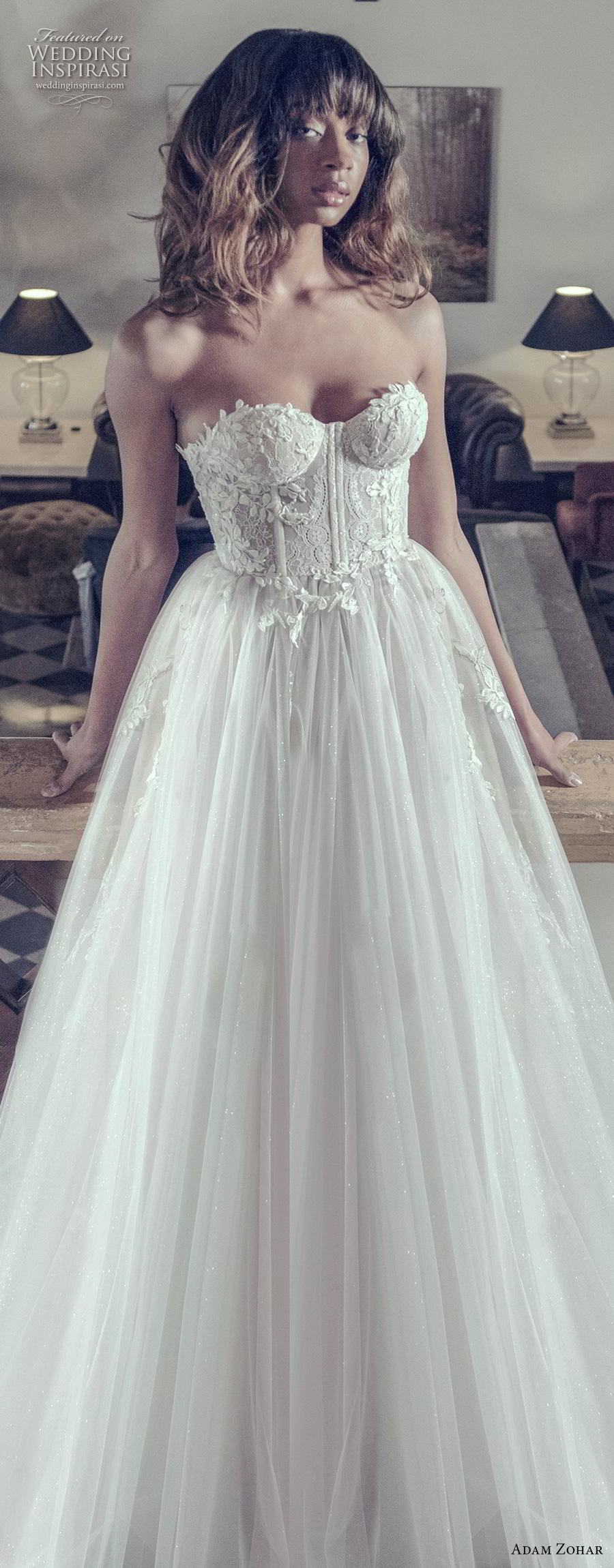 adam zohar 2019 bridal strapless sweetheart neckline heavily embellished bodice bustier romantic ball gown a  line wedding dress sweep train (1) lv