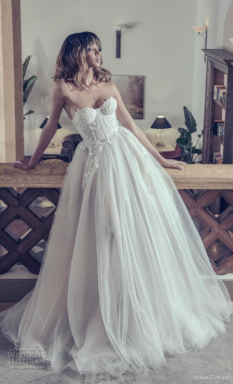 adam zohar 2019 bridal strapless sweetheart neckline heavily embellished bodice bustier romantic ball gown a  line wedding dress sweep train (1) mv