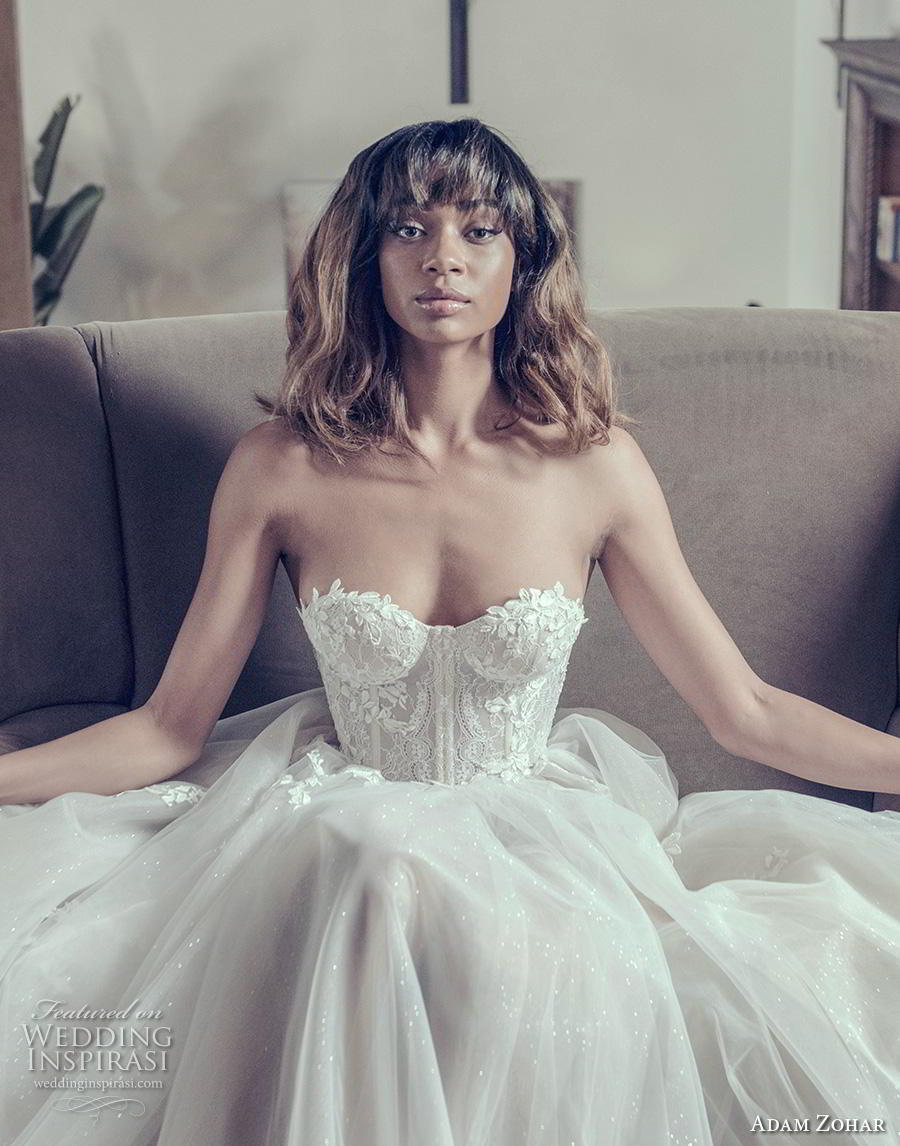 adam zohar 2019 bridal strapless sweetheart neckline heavily embellished bodice bustier romantic ball gown a  line wedding dress sweep train (1) zv