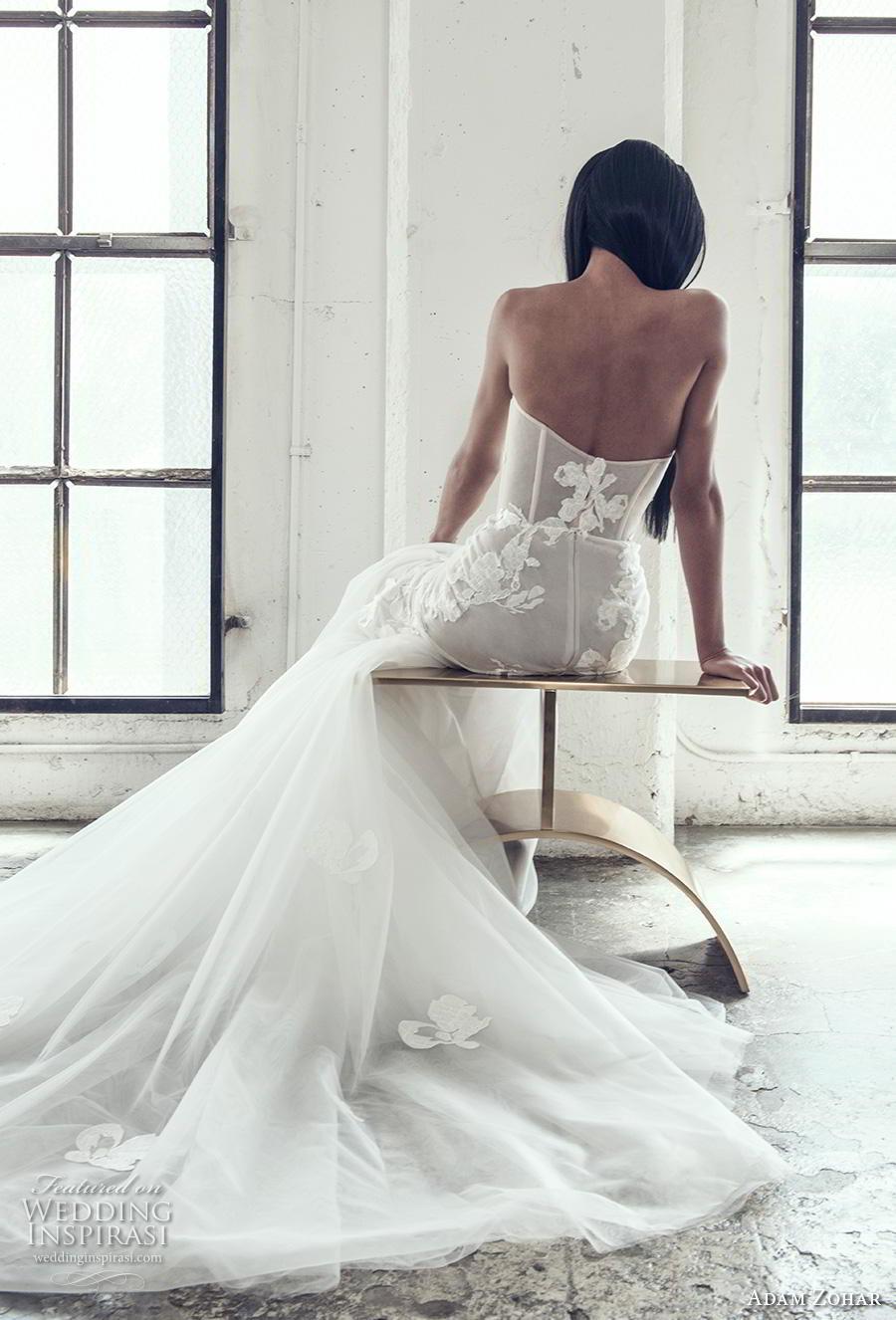 adam zohar 2019 bridal strapless sweetheart neckline heavily embellished bodice bustier romantic mermaid wedding dress chapel train (14) bv