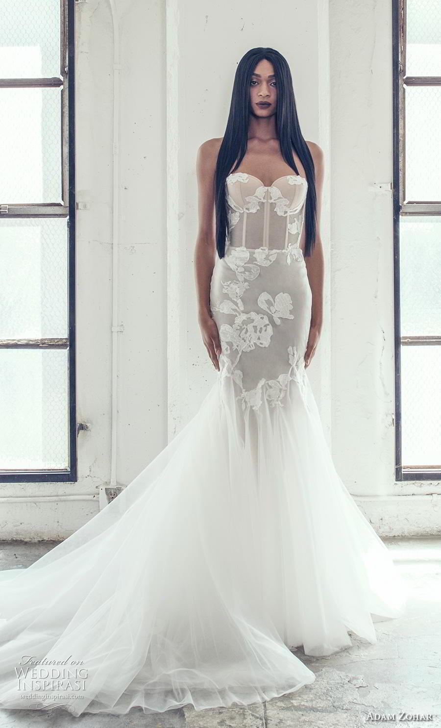 adam zohar 2019 bridal strapless sweetheart neckline heavily embellished bodice bustier romantic mermaid wedding dress chapel train (14) mv