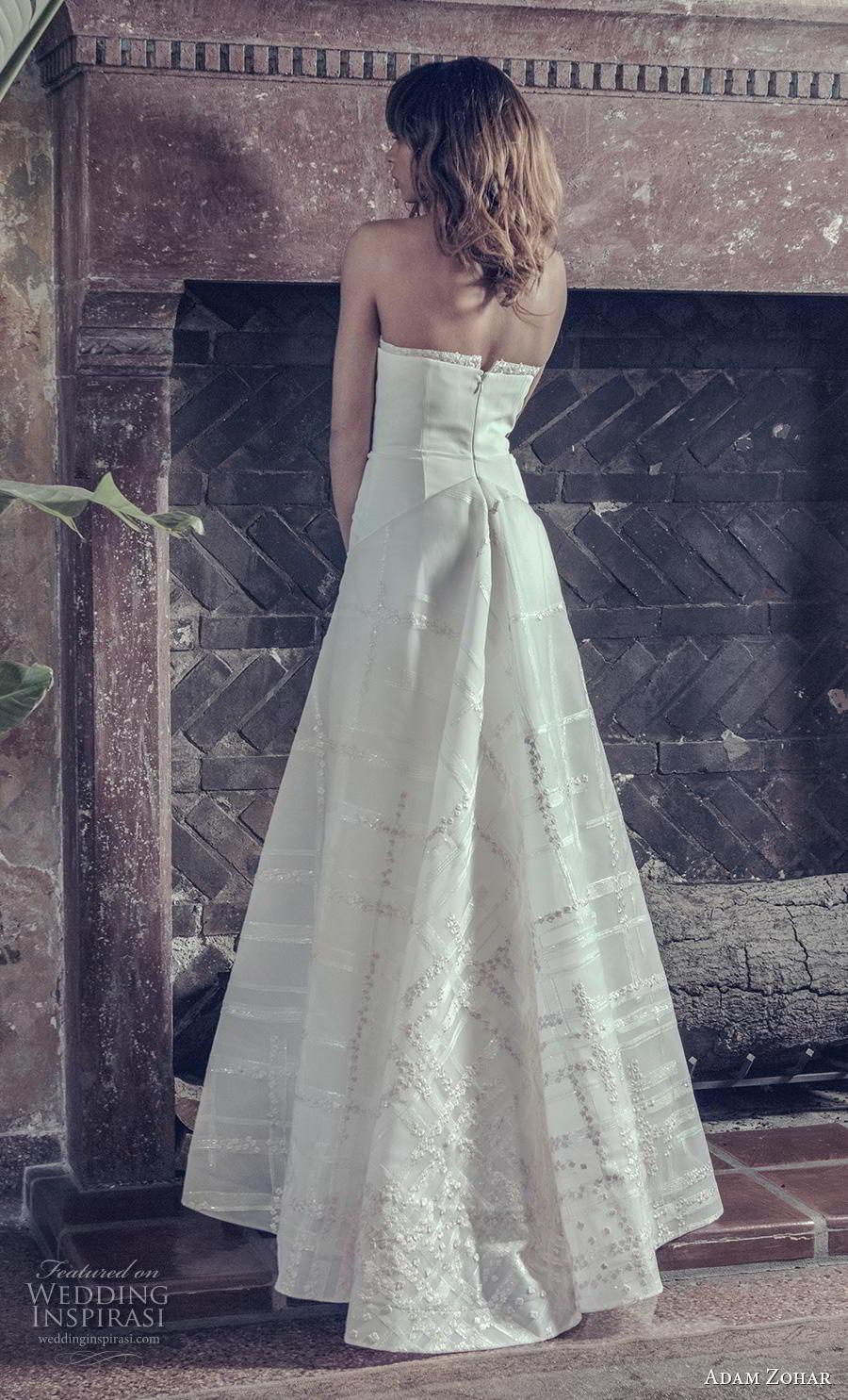 adam zohar 2019 bridal strapless sweetheart neckline simple clean bodice elegant modern a  line wedding dress sweep train (4) bv