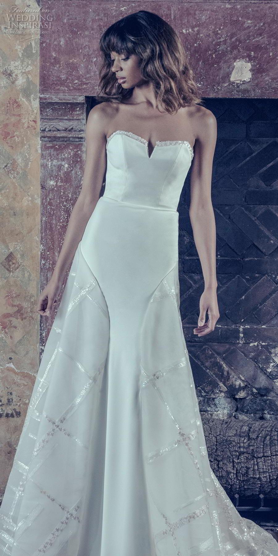 adam zohar 2019 bridal strapless sweetheart neckline simple clean bodice elegant modern a  line wedding dress sweep train (4) lv