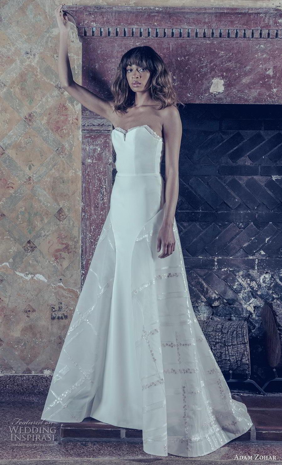 adam zohar 2019 bridal strapless sweetheart neckline simple clean bodice elegant modern a  line wedding dress sweep train (4) mv