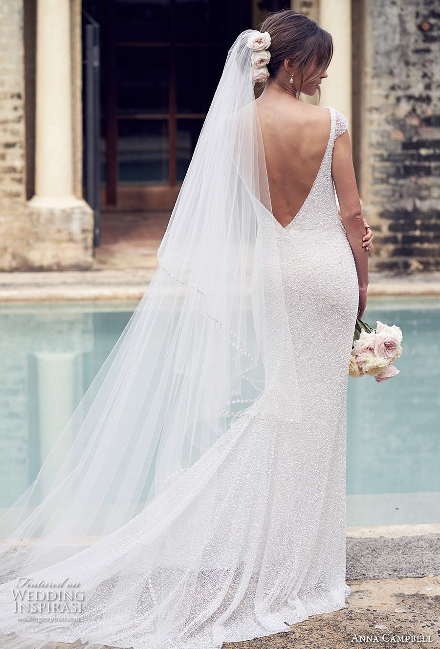 anna campbell 2019 bridal cap sleeves bateau neckline full embellishment simple elegant sheath wedding dress backless v back chapel train (4) bv
